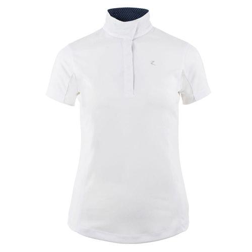 Horze Women's Blaire Short Sleeved Sun Show Shirt - White/Dark Navy