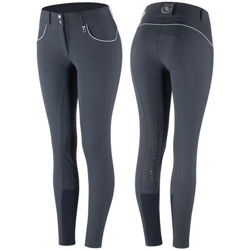 Horze Women's Aubrey High Waist Breeches Silicon Knee Patch - Navy Dark Blue