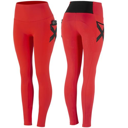 Horze Women's Sandra Functional Tights Silicone Full Seat - Fiery Red