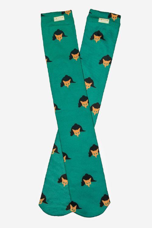 Lettia Women's Boot Socks - Green Fox Mask