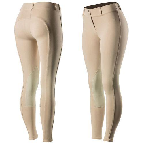 Horze Women's Ella Pull Up Knee Patch Tights - Tan