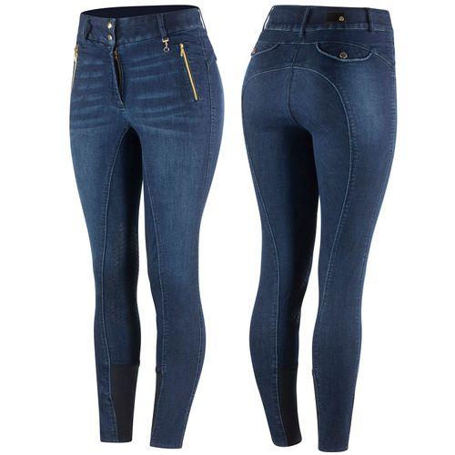 Horze Women's Nicole Denim Breeches Silicon Knee Patch - Dark Blue