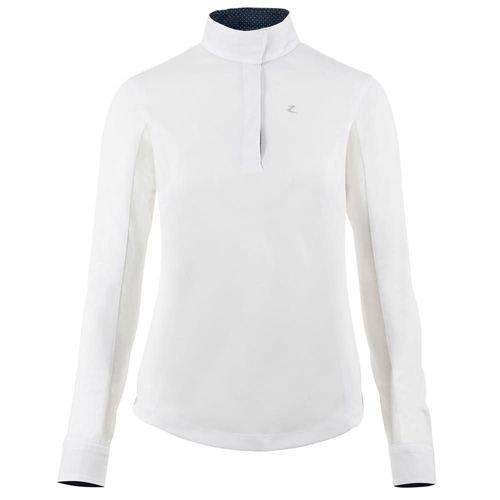 Horze Women's Blaire Long Sleeve Sun Show Shirt - White/Dark Navy