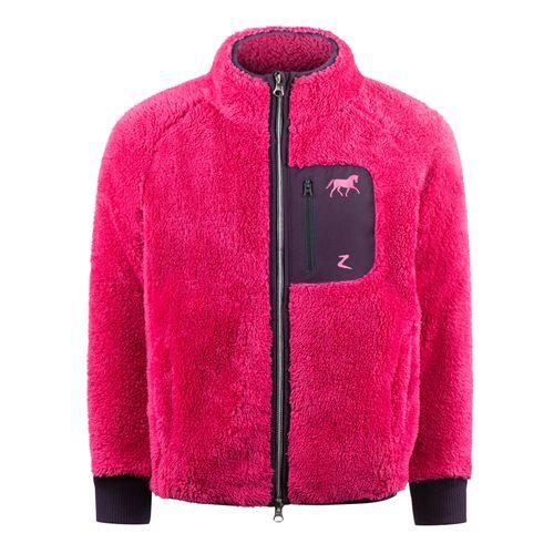 Horze Kids' Landry Fleece Jacket - Fuchsia Rose/Plum Perfect