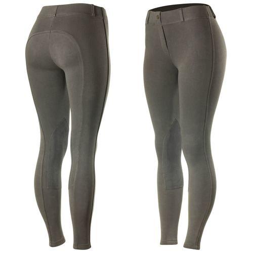 Horze Women's Ella Pull Up Knee Patch Tights - Dark Grey