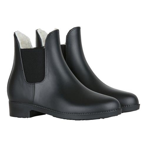 Horze Kids' Bonn Rubber Paddock Boots w/Faux Fur Lining - Black