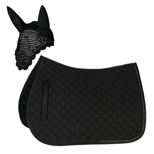 Horze All Purpose Saddle Pad & Ear Net Set - Black