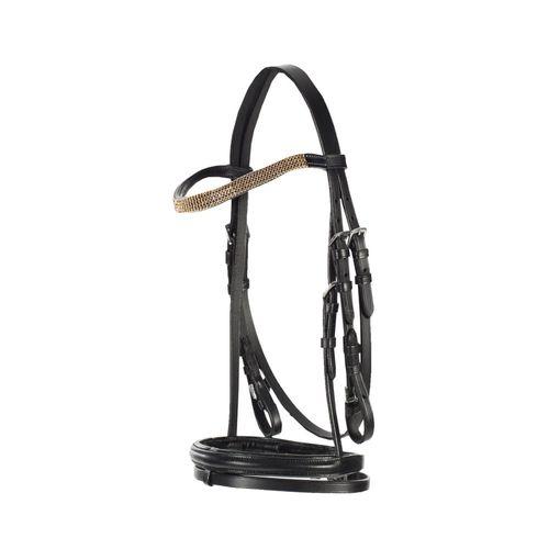 Horze Pony Flash Bridle - Black/Gold