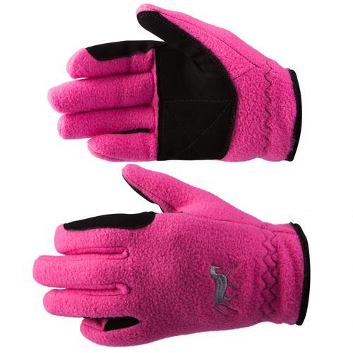 Horze Kids' Fleece Gloves - Deep Coral Pink