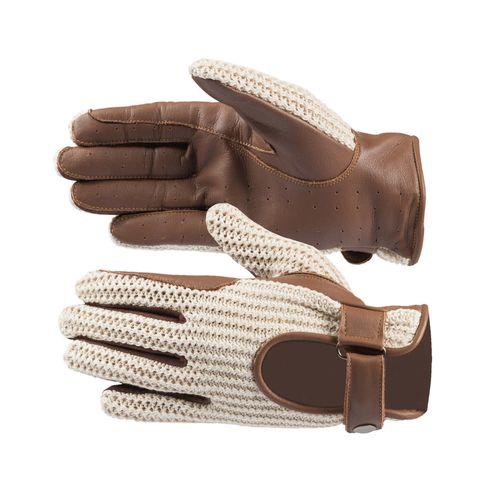 Horze Crochet Gloves - Brown/Off White
