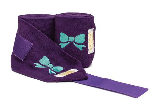 Lettia Embroidered Polo Wraps - Purple/Bows