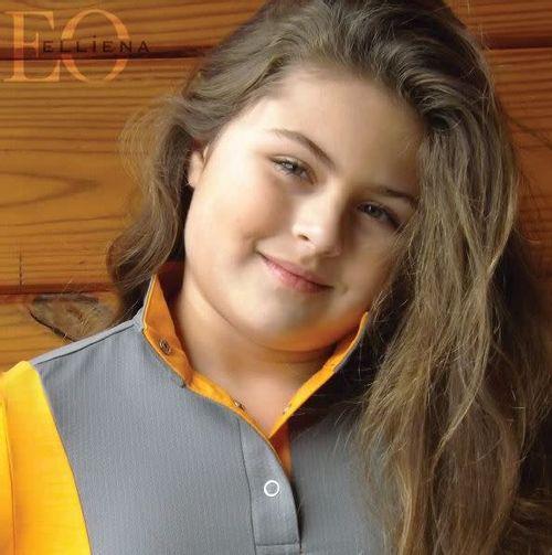 Elliena EQ Kids' The Edge Polo - Orange/Grey Mesh