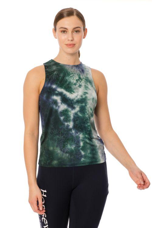 Horseware Women's Training Top - Green/Navy Tie Dye