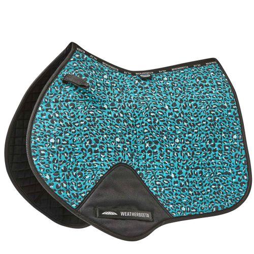 Weatherbeeta Prime Leopard Jump Shaped Saddle Pad - Turquoise Print