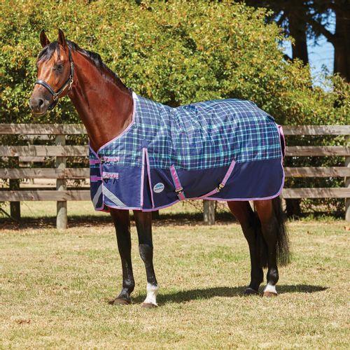Weatherbeeta Comfitec Plus Dynamic Standard Neck Medium Blanket - Navy/Light Blue/Purple Plaid
