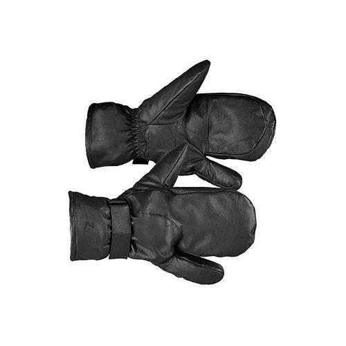Horze Leather Three Finger Mittens - Black