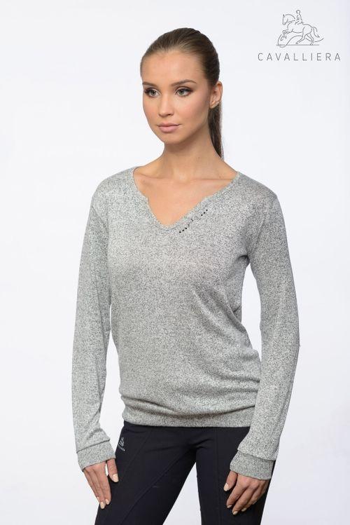 Cavalliera Women's Class Viscose Jersey Loose Sweater - Grey Melange
